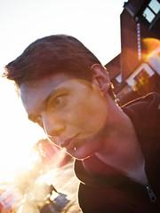 Lensflares (Sebastian-Ziegler) Tags: portrait man cute male nikon pretty handsome porträt smoking human lensflare coolpix mann lovely männer mensch rauchen schön männlich hübsch p6000