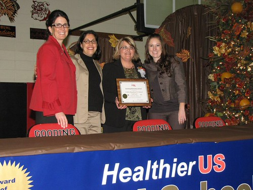 From left to right: Gooding School District Superintendent Dr. Heather Williams, USDA Food and Nutrition Service Nutritionist Melisa Di Tano, Gooding School District Child Nutrition Director Anji Baumann, and Idaho Department of Education's Child Nutrition Programs Coordinator Heidi Martin, MS, RD, LD