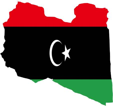 Libya map with old flag