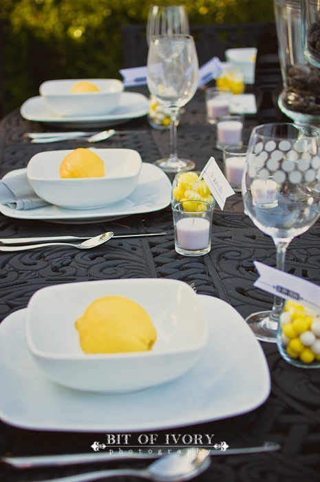 yellow and gray wedding lemons and plates
