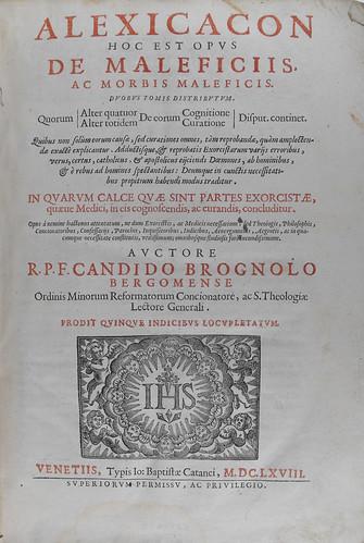 Title page from Alexicacon hoc est opus de maleficiis ac morbis maleficis