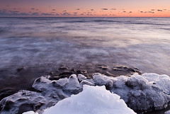 A Touch of Ice (Bryan Hansel) Tags: winter sunset usa ice waves shoreline 121 mn lakesuperior