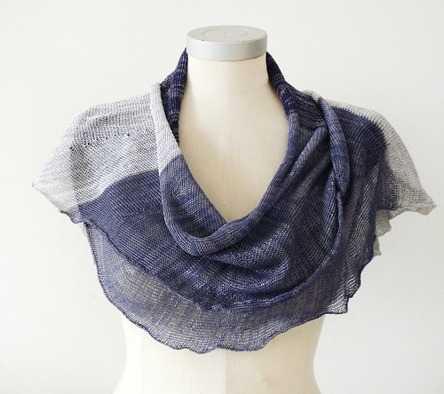 viscose cotton spring scarf -dark blue Sapphire blue and gray