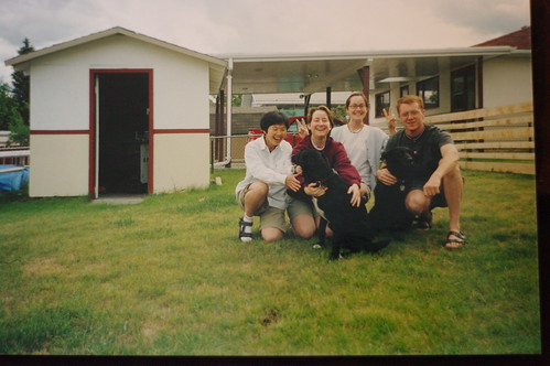 Michiko, my sister, me, Cam, Bella, Oscar in our yard