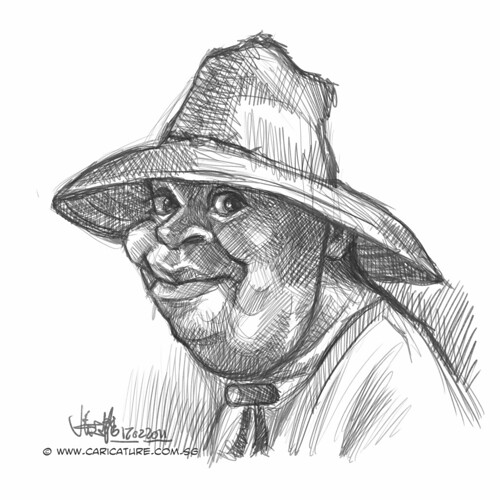 digital caricature sketch of lemorris harris