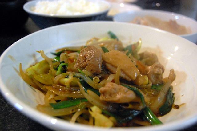 鶏と野菜の炒めをトウチジャン入りで。 #jisui