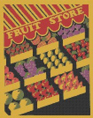 fruit stand wpa poster (nichestitch) Tags: red orange green apple yellow shop fruit store strawberry crossstitch pattern handmade pineapple pdf etsy melon grape