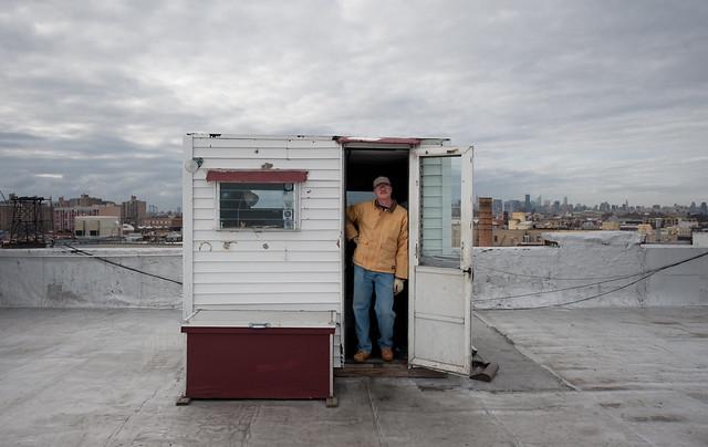 Whitey on roof: Bushwick Brooklyn