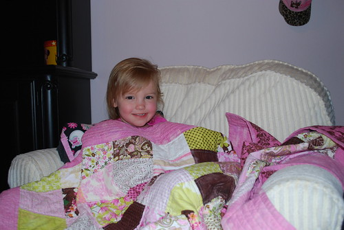 Megan with her new quilt