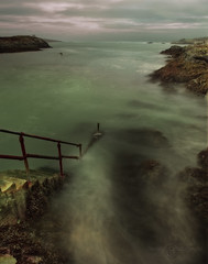 Into the abyss (janusz l) Tags: longexposure ireland sea green japan stairs pier earthquake head tsunami fantasy staircase quake whale peninsula hdr silky castlepoint mizen janusz leszczynski intotheabyss 005716