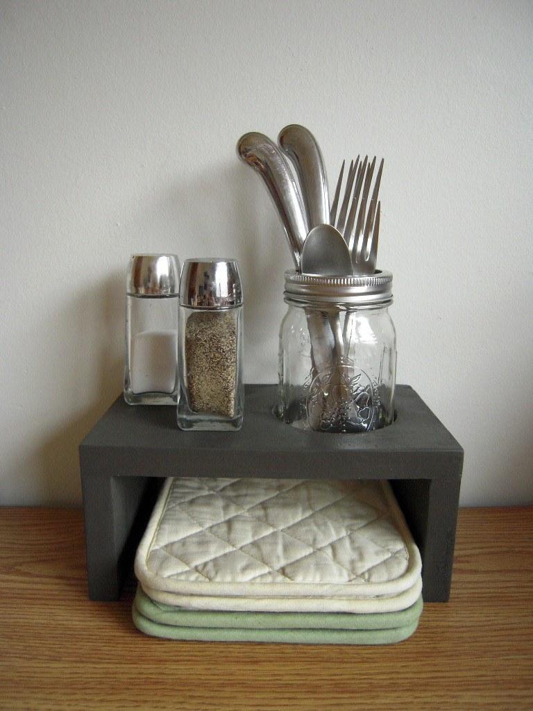 Desktop or countertop organizer and utensil jar kitchen decor in ebony field charcoal grey