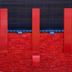 Red alert (tanakawho) Tags: blue red abstract brick texture architecture tile earthquake exterior blind line squareformat tanakawho