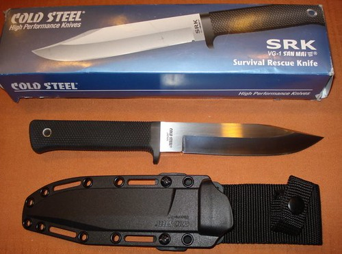 "Cold Steel SRK Survival Rescue Knife 6"" VG-1 San Mai III Blade, Kraton Handle"