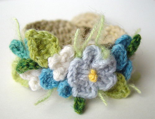 Crochet Blue Flowers Bracelet by meekssandygirl