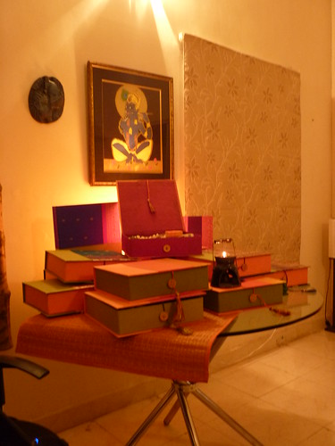 The Pritya Office table stacked with Gift boxes