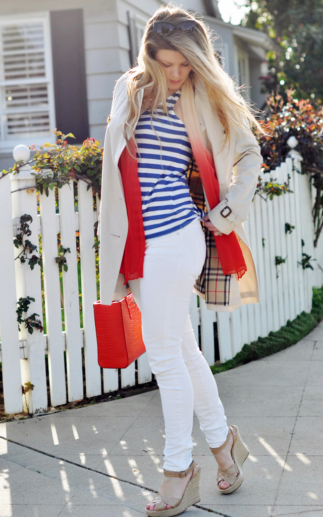 burberry trench coat, nautical look, white jeans, red bag, kate spade bag, tote bag, blue and white stripes, striped tank, long blonde hair, tiffany silver necklace, espadrilles, jimmy choos, DSC_0512