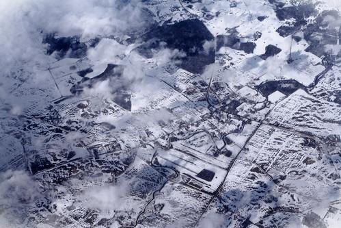 flygbild, vinter, tidning