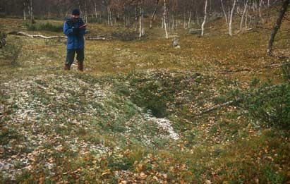 Registrering av fangstgrop Foto: Ingrid Sommerseth