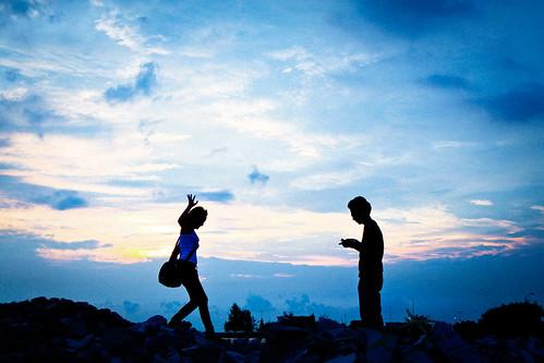 フリー写真素材, 人物, 人と風景, 雲, シルエット, ブルー,