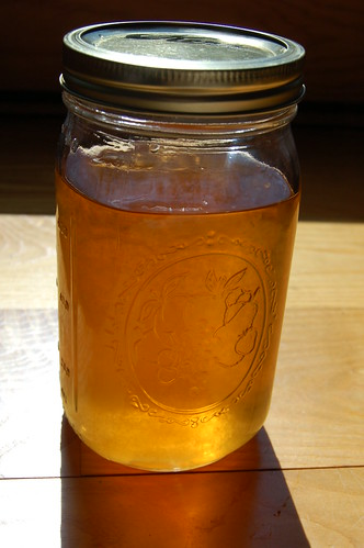 Liquid amber - a quart jar of homemade maple syrup by Eve Fox, Garden of Eating blog, copyright 2011