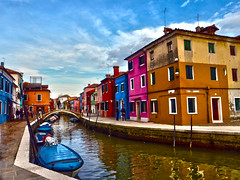 colourful venice (gruntpig) Tags: trip travel bridge pink blue venice houses windows sky people italy cloud holiday color art history wet water beautiful beauty yellow architecture clouds buildings river wonder boats person boat canal italian arch tour power bright path transport pedestrian shutters highdefinition historical gondola venetian colourful venezia powerboat hdr waterside towpath adriatic veneto masonary northernitaly highdef