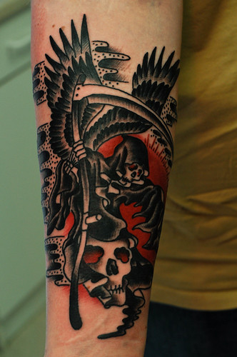 c5735ee48 Angel of Death Grim Reaper Tattoo by KeelHauled Mike of Black Anchor  Maryland Tattoo in Denton
