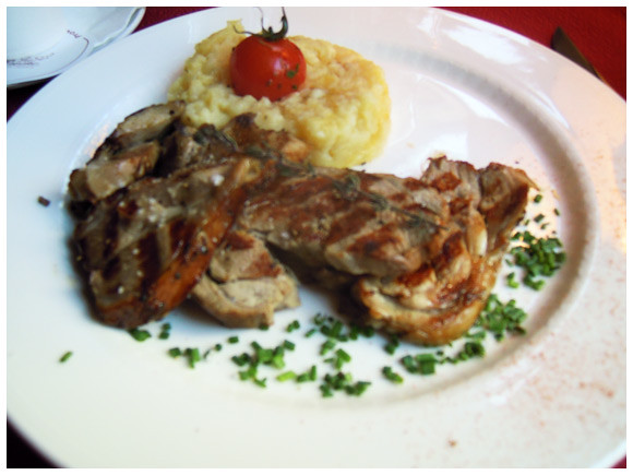 Grilled lamb and mashed potatoes at La Broche, located in Plainpalais, Geneva
