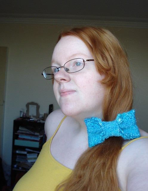 Belle BatB blue dress knitted hair ribbon