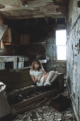 (yyellowbird) Tags: house abandoned kitchen girl illinois couch cari somewhere