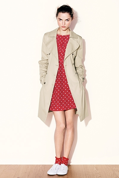 red polka dot trench
