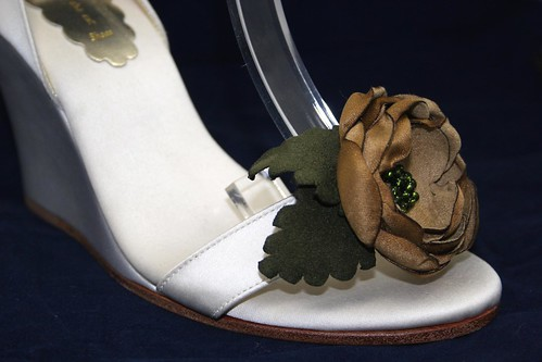 Our custom designed wedding wedges with a soft brown flower and green