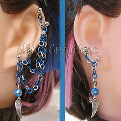 Skyswimmer's Wing - Pair of Cartilage Chain Earrings