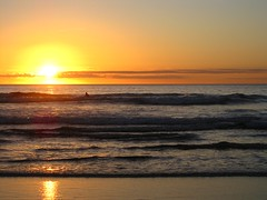 sunset in Piha with surfer (Susana Fabian) Tags: sunset newzealand beach surf piha