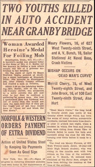 "Death on ""Dead Mans Curve""- Tha VA Pilot 10/28/1931"
