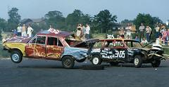 Banger racing - Bovingdon Raceway , early 1980s (PSParrot) Tags: 2000 racing triumph 100 audi banger bovingdon raceway
