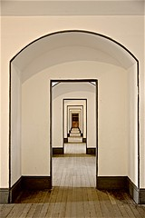 Fort Point Hallway ...  shall we ? (sswj) Tags: hallway architecturaldetail historicbuilding fortpoint civilwarera sanfrancisco northerncalifornia california dof composition geometric scottjohnson dslr fullframe nikon d600 nikkor28300mm existinglight availablelight oldbuilding longhallway abstractreality lightandshadow raw kafkaesque depth tunnell doorways