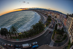 Fisheye View of Nice, France (lncgriffin) Tags: nice nizza france rpubliquefranaise europe europa frenchriviera sunset baisdeanges hotelsuisse mediterranean skyline fisheye travel nikon d610 nikkor 16mmf28dfisheye
