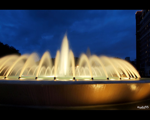 The Mecom Fountain at dusk
