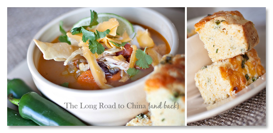 Mexican Tortilla Soup and Jalapeno Cornbread Collage BLOG