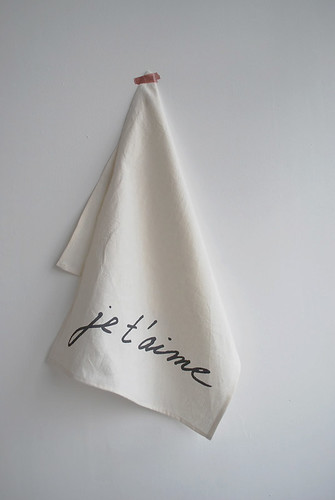 je t'aime tea towel