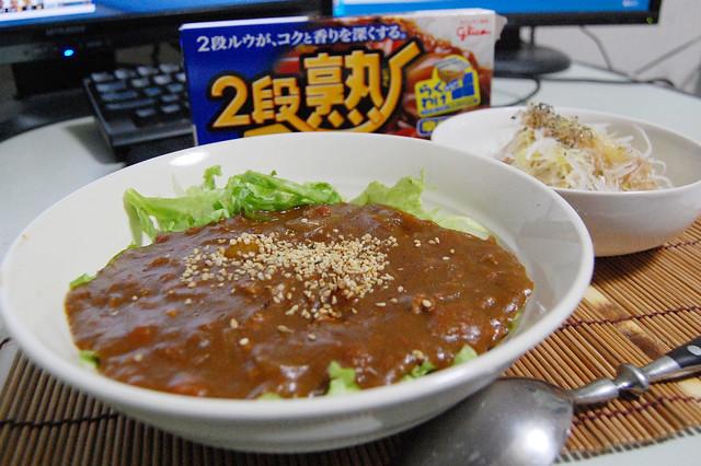 千切りレタス敷くとシャクシャクで美味しいよ、カレー!#jisui