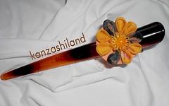 Pinza imitacin carey naranja marrn (kanzashiland) Tags: tsumami pinza kanzashi