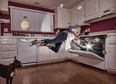 The Magic Oven (VisualBurrito) Tags: dog cooking kitchen girl cookies photoshop bostonterrier baker oven levitation layers levitate insitu