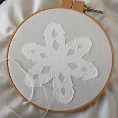 Iron Craft Challenge 6 - Appliqued Snowflake Quilt Square