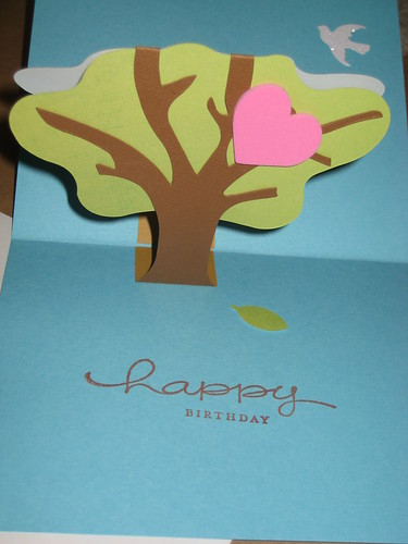 Day 8:  3D Tree Birthday Card (inside)