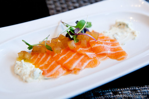 Fatty Salmon Belly with chive crème fraiche