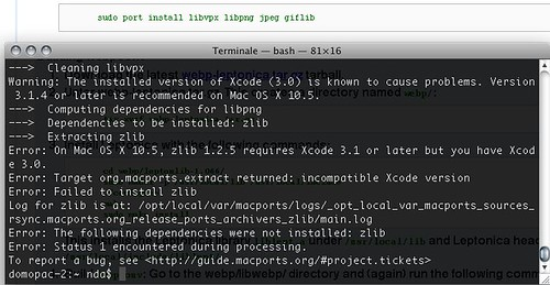 MacPorts zlib 1.2.5 and Xcode 3.0