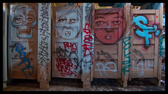 (mtarlock) Tags: sf sanfrancisco house pool bathroom graffiti doors faces stall fleishhacker