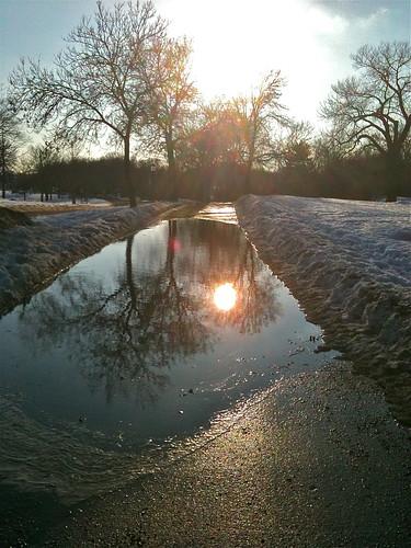 big puddle and sun