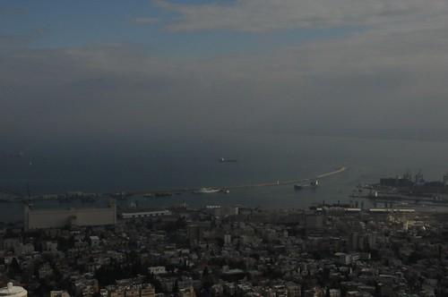 Foggy Haifa harbour view